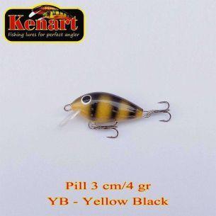 Vobler Kenart Pill Sinking Yellow Black 3cm 4g