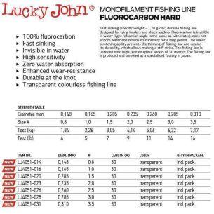 Lucky John Fir Fluorocarbon Hard 30m (leader) 0.20mm 30m