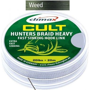 Fir Textil Climax Cult Hunters Braid Heavy Sinking Hooklink Weed Green 20m 30lb
