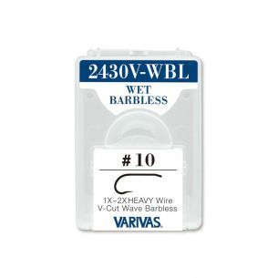 Carlige Varivas Fly 2430V-WBL Wet V-Cut Barbless 1x 2x Heavy Nr.6 20buc