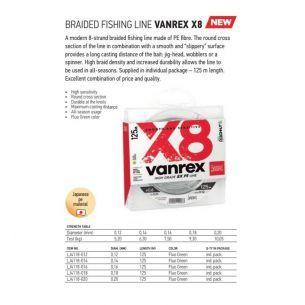 Fir Textil Lucky John Vanrex X8 Fluo Green 0.18mm 125m 9.3kg