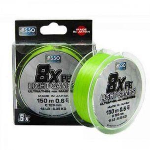 Fir Textil Asso Light Games PE 8x Fluo Chartreuse 0.185mm 150m 11.34kg